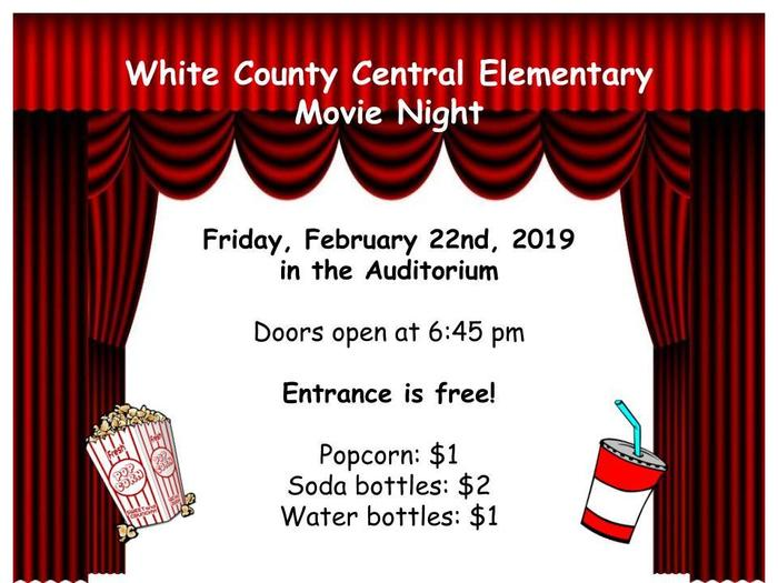 White County Central Movie Night  6:45 free admission